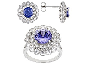 Blue And White Cubic Zirconia Rhodium Over Sterling Silver Jewelry Set 10.45ctw