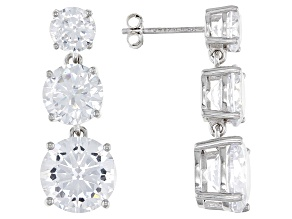 White Cubic Zirconia Rhodium Over Sterling Silver Earrings 20.41ctw