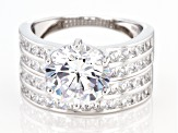 White Cubic Zirconia Rhodium Over Sterling Silver Ring With Band 9.25ctw