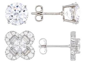 White Cubic Zirconia Rhodium Over Sterling Silver Earrings- Set of 2 10.17ctw