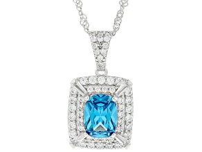 Blue And White Cubic Zirconia Rhodium Over Sterling Silver Pendant With Chain 3.27ctw