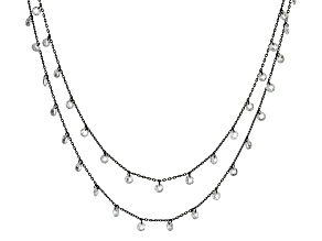 White Cubic Zirconia Black Rhodium Over Sterling Silver Necklace 16.70ctw