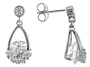 White Cubic Zirconia Rhodium Over Sterling Silver Earrings 4.35ctw