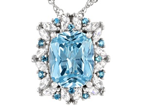 Blue And White Cubic Zirconia Rhodium Over Sterling Silver Pendant With Chain 7.84ctw
