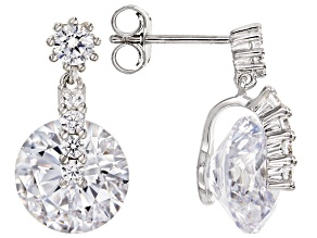 White Cubic Zirconia Rhodium Over Sterling Silver Earrings 8.26ctw