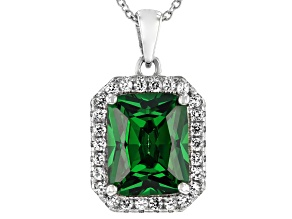 Green Cubic Zirconia And Lab White Sapphire Rhodium Over Sterling Silver Pendant With Chain 5.08ctw