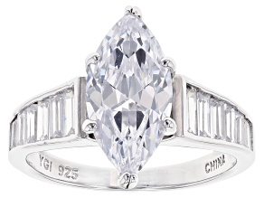 White Cubic Zirconia Rhodium Over Sterling Silver Ring 4.65ctw