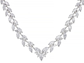 White Cubic Zirconia Rhodium Over Sterling Silver Necklace 58.1ctw