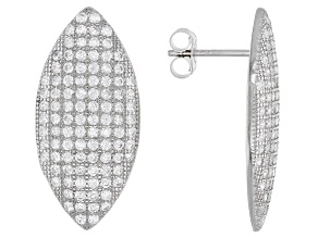 White Cubic Zirconia Rhodium Over Sterling Silver Earrings 1.88ctw