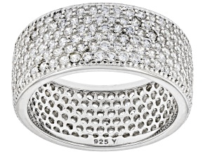 White Cubic Zirconia Rhodium Over Sterling Silver Ring 4.47ctw