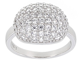 White Cubic Zirconia Rhodium Over Sterling Silver Ring 1.92ctw