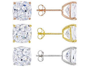 White Cubic Zirconia Rhodium Over Silver And 18k Yellow Gold And Rose Gold Earrings 21.00ctw