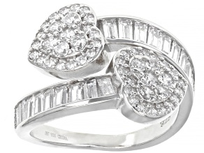 White Cubic Zirconia Rhodium Over Sterling Silver Ring 4.44ctw