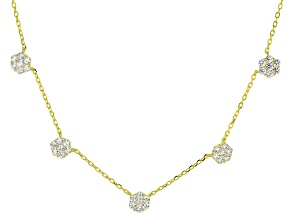 White Cubic Zirconia 18k Yellow Gold Over Sterling Silver Necklace 0.43ctw