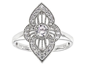 Picture of White Cubic Zirconia Rhodium Over Sterling Silver Ring 0.95ctw