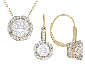 White Cubic Zirconia 18k Yellow Gold Over Sterling Silver Earrings And Pendant With Chain 5.00ctw