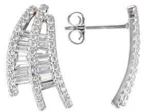 White Cubic Zirconia Rhodium Over Sterling Silver Earrings 1.78ctw