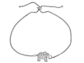 White Cubic Zirconia Rhodium Over Sterling Silver Elephant Bolo Bracelet 0.30ctw