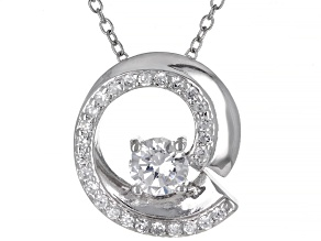 White Cubic Zirconia Rhodium Over Sterling Silver Pendant With Chain 0.50ctw
