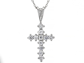 White Cubic Zirconia Rhodium Over Sterling Silver Cross Pendant With Chain 0.75ctw