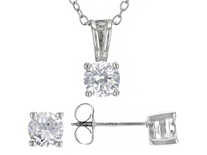 White Cubic Zirconia Rhodium Over Sterling Silver Earrings And Pendant With Chain Set 1.25ctw