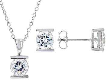 Picture of White Cubic Zirconia Rhodium Over Sterling Silver Earrings And Pendant With Chain Set 1.25ctw