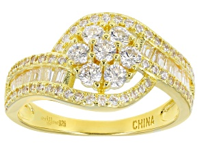 White Cubic Zirconia 18k Yellow Gold Over Sterling Silver Ring 1.75ctw