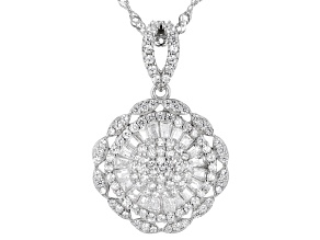 White Cubic Zirconia Rhodium Over Sterling Silver Pendant With Chain 1.78ctw