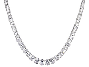 White Cubic Zirconia Rhodium Over Sterling Silver Necklace 69.95ctw