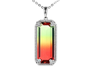 Party Color Tourmaline Simulant And Cubic Zirconia Rhodium Over Silver Pendant With Chain 0.06ctw