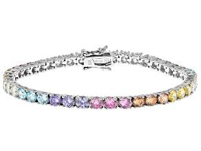 Aurora Borealis And Multicolor Cubic Zirconia Rhodium Over Sterling Silver Bracelet 11.39ctw