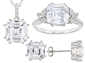 Asscher Cut Cubic Zirconia Rhodium Over Silver  Earrings, Ring, And Pendant With Chain 12.56ctw