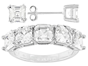 Asscher Cut Cubic Zirconia Rhodium Over Sterling Silver Ring And Earrings 4.32ctw