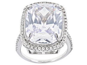 White Cubic Zirconia Rhodium Over Sterling Silver Ring 17.01ctw