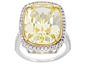 Canary And White Cubic Zirconia Rhodium Over Sterling Silver Ring 17.01ctw