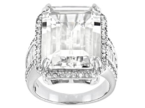 White Cubic Zirconia Rhodium Over Sterling Silver Ring 18.95ctw