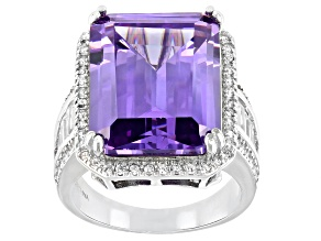 Lavender And White Cubic Zirconia Rhodium Over Sterling Silver Ring 20.26ctw