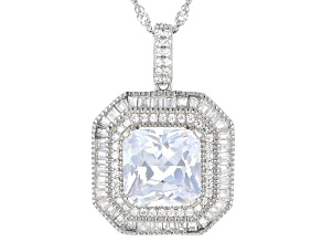 White Cubic Zirconia Rhodium Over Sterling Silver Pendant With Chain 6.85ctw