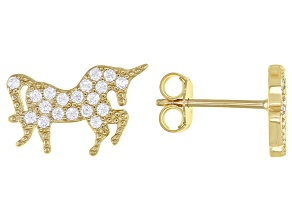 White Cubic Zirconia 18k Yellow Gold Over Sterling Silver Unicorn Stud Earrings 0.42ctw