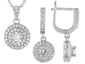 White Cubic Zirconia Rhodium Over Sterling Silver Earrings And Pendant With Chain 3.60ctw