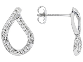White Cubic Zirconia Rhodium Over Sterling Silver Earrings 0.50ctw