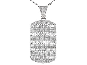 White Cubic Zirconia Rhodium Over Sterling Silver Pendant With Chain 5.70ctw