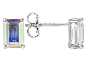 Aurora Borealis Cubic Zirconia Rhodium Over Sterling Silver Stud Earrings 3.26ctw