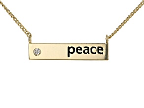 "White Cubic Zirconia 18k Yellow Gold Over Sterling Silver ""Peace"" Necklace 0.04ctw"