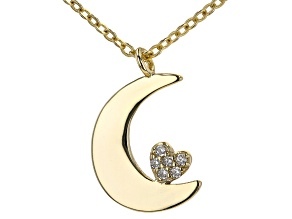 White Cubic Zirconia 18k Yellow Gold Over Sterling Silver Moon And Heart Pendant With Chain 0.07ctw