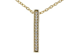 "White Cubic Zirconia 18k Yellow Gold Over Sterling Silver ""Faith"" Pendant With Chain 0.13ctw"