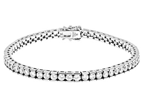 White Cubic Zirconia Platinum Over Sterling Silver Bracelet 6.40ctw