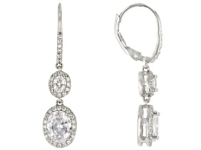 White Cubic Zirconia Rhodium Over Sterling Silver Earrings 5.38ctw