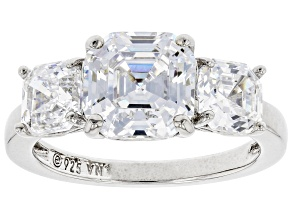 Asscher Cut White Diamond Simulant Platinum Over Sterling Silver Ring 3.45ctw