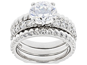 White Cubic Zirconia Rhodium Over Sterling Silver Ring With Guard 2.40ctw